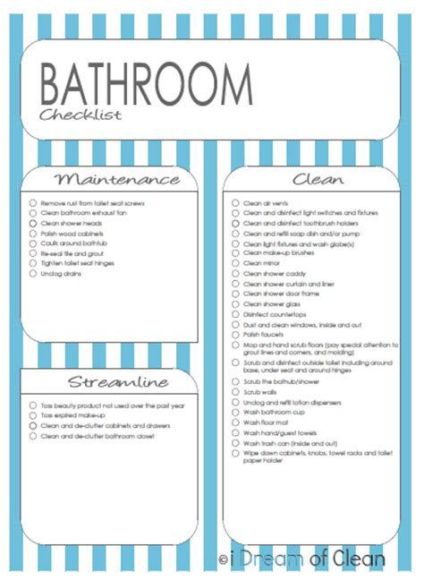 Cleaning Supplies Checklist Printable - Bathroom cleaning supplies list