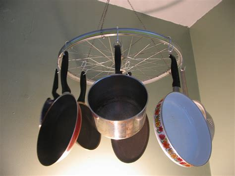 Cool Idea Bicycle Wheel Pot Rack  Popsugar Home