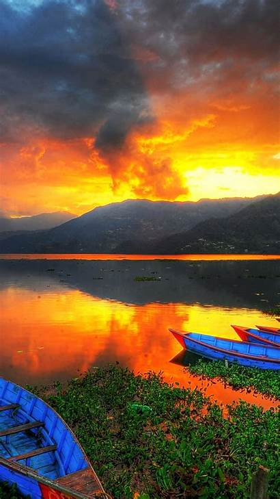 Pokhara Phewa Nepal Sunset Lake Iphone