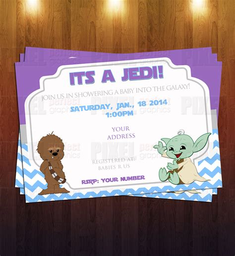 Wars Baby Shower - jedi wars themed baby shower invite by