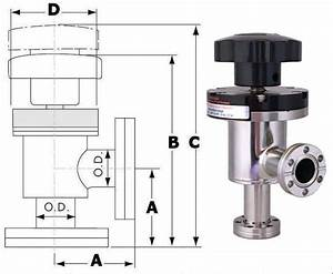 Manual Right Angle Conflat Rotatable Port Valve