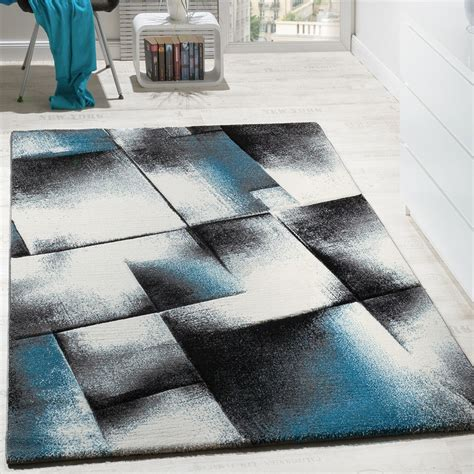 tapis salon poils ras turquoise gris tapis