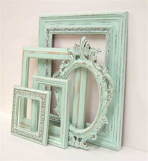 shabby chic picture frame shabby chic frames pastel mint green picture frame set ornate