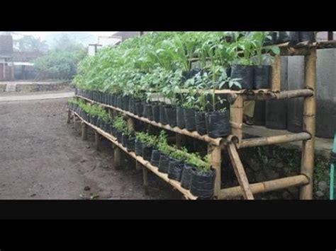 membuat rak pot bunga polybag limbah bambu
