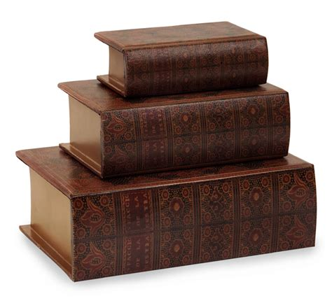 set of 3 decorative nesting wooden book storage boxes ebay