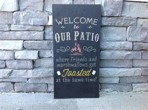 Custom Backyard Signs by Large Welcome To Our Patio Firepit Custom Sign Bonfire