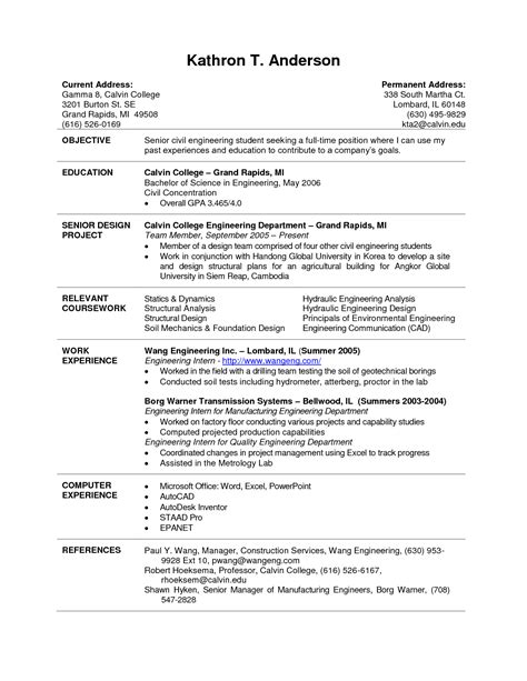 Resume For Students by Current College Student Resume Planner Template Free