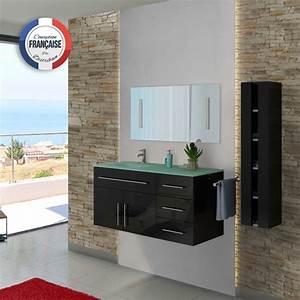 Meuble Vasque De Salle De Bain : ensemble de salle de bain noir dis945n meuble de salle de bain 1 vasque 120 cm distribain ~ Melissatoandfro.com Idées de Décoration