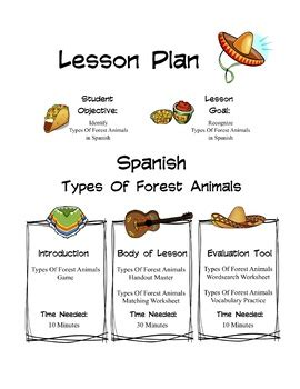 Spanish Types Of Forest Animals Lesson Packet by Sunny