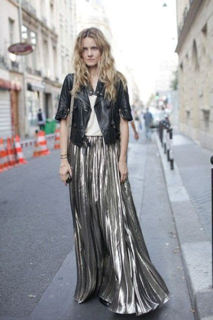 picture  maxi metallic skirt  leather jacket combination