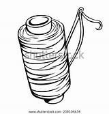 Needle Thread Cartoon Bobbin Shutterstock Vector sketch template