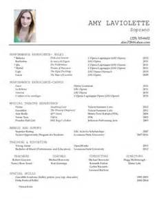 performance resume template vocal performance resume source