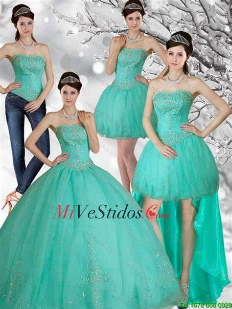 vestidos de  anos desmontables verde agua