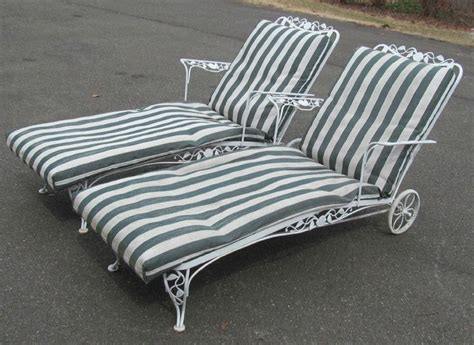 chaise metal vintage pair 1940 woodard wrought iron chantilly chaise lounges w cushions same collection as my