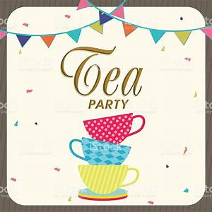 tea party invitation card design stock vector art more With morning tea invitation template free