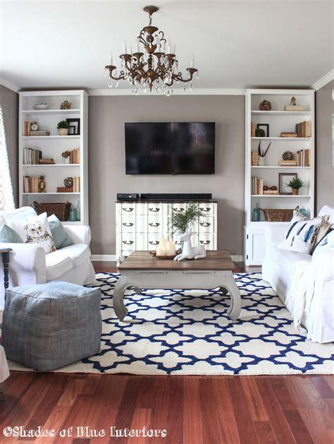 living room rug shades of blue interiors