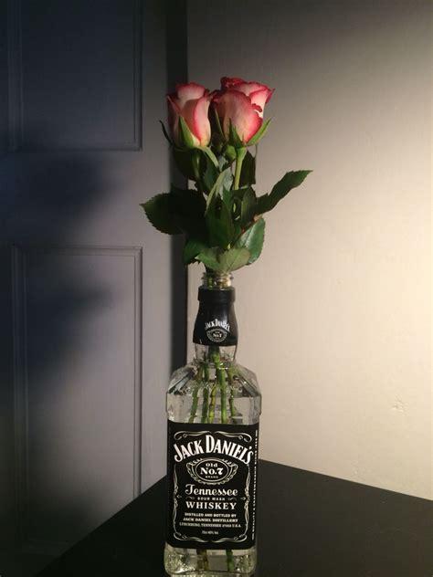 jack daniels whiskey bottle vase pink flowers apartment
