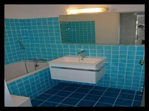 beautiful carrelage sol bleu turquoise pictures With carrelage salle de bain original