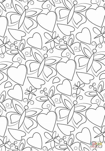 Coloring Pages Pattern Hearts Butterflies Printable Games