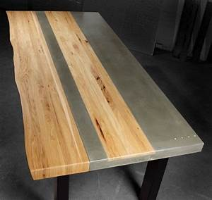 Hand Made Concrete Wood & Steel Dining Kitchen Table by