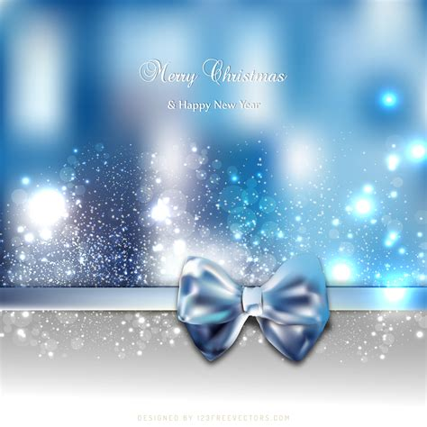 blue holiday greeting card background bow