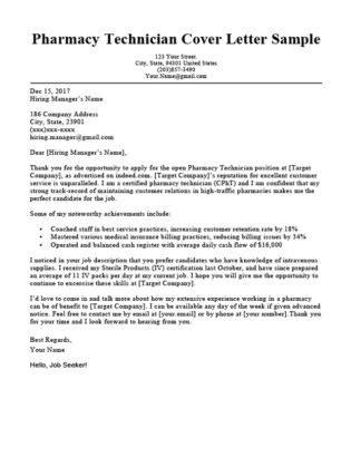 Sle Cover Letter For Pharmacist by Pharmacy Technician Cover Letter Sle Guide