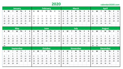 2020 Calendar Printable Template Holidays, Word, Excel