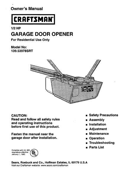 craftsman garage door opener srt user guide