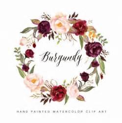 paper flower wedding bouquet watercolor flower wreath clipart burgundy by graphicsafari inspiration inbjudningar