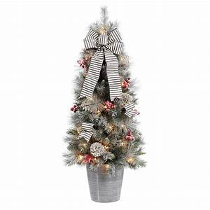 Home, Accents, Holiday, 4, Ft, Snowy, Pinecone, And, Berry, Artificial, Christmas, Porch, Tree, With, 50, Ul