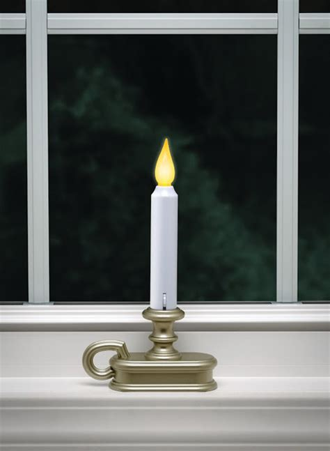 battery operated window sil candle pewter flicker and