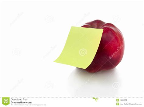 stiker cuisine apple with stiker note royalty free stock images