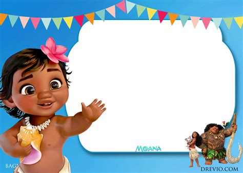 moana birthday invitation template  printable
