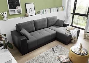 Wohnzimmer Sofa Günstig : couch schlafsofa sofabett funktionssofa ausziehbar lederlook schwarz 240 cm ebay ~ Markanthonyermac.com Haus und Dekorationen