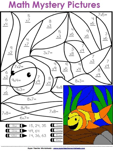 math mystery picture worksheets