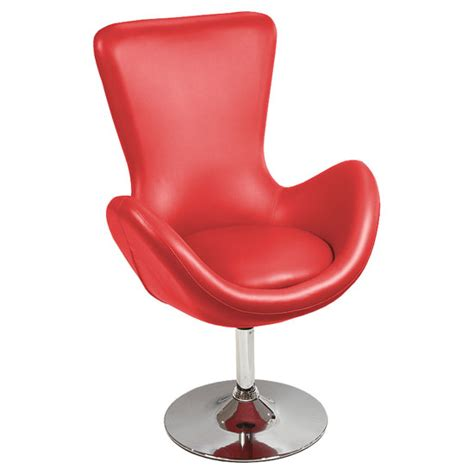 destiny modern rotating bucket chair  red faux leather