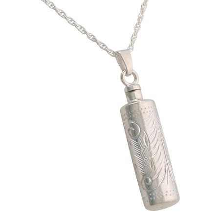 etched cylinder cremation necklace  ashes