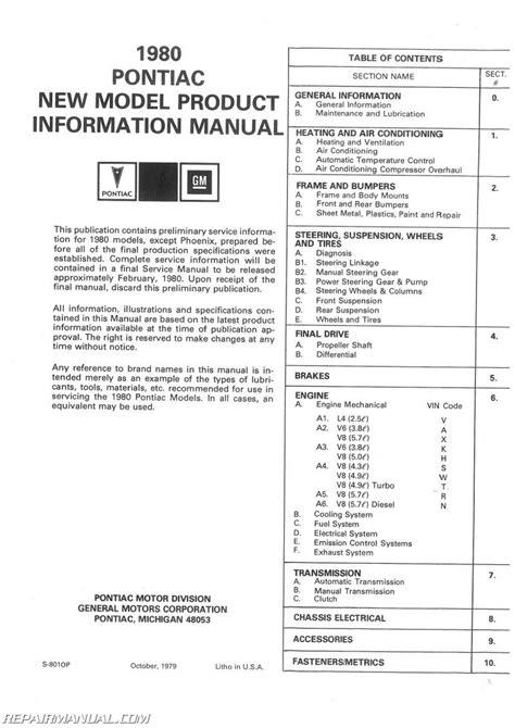 free online car repair manuals download 2003 pontiac vibe spare parts catalogs 1980 pontiac service manual new product information manual