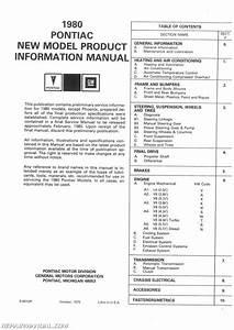 1980 Pontiac Service Manual New Product Information Manual