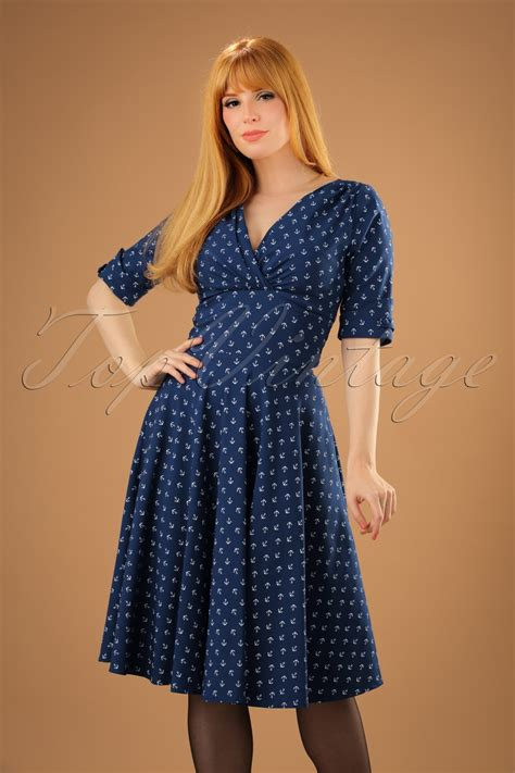 Swing Dresses by 50s Delores Anchor Swing Dress In Blue