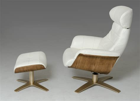 divani casa charles mid century white leather reclining