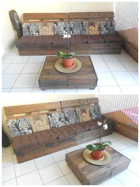 canape poltrone et sofa canapé table basse en palettes pallet sofa coffee