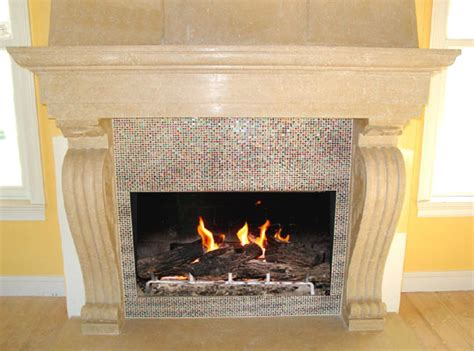 artistic mosaic  fused glass tiles  cover  fireplace