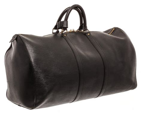 louis vuitton duffle keepall  cm luggage black epi leather weekendtravel bag tradesy