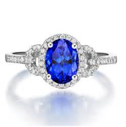 wedding rings on sale just 1 carat blue sapphire and halo engagement ring on sale jewelocean