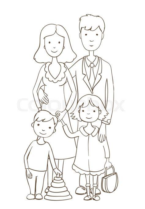 cute cartoon happy family  white stock vector colourbox