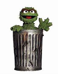 Oscar The Grouch Cutout On Trash Can