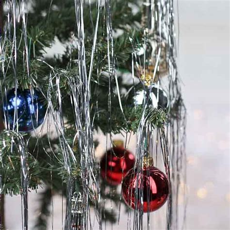 retro inspired silver metallic tinsel strands christmas