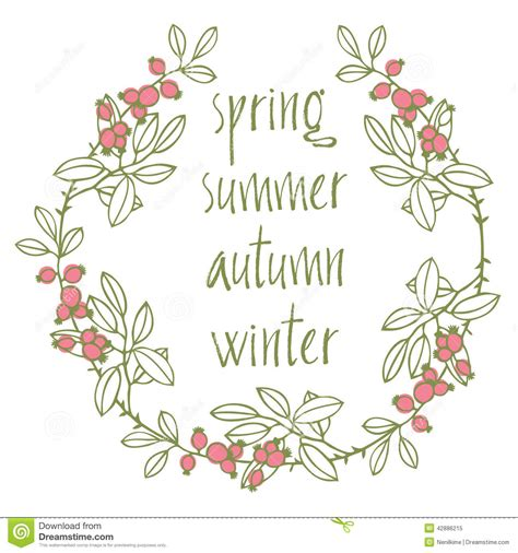 Card With Vignette And Calligraphic Writing Seasons