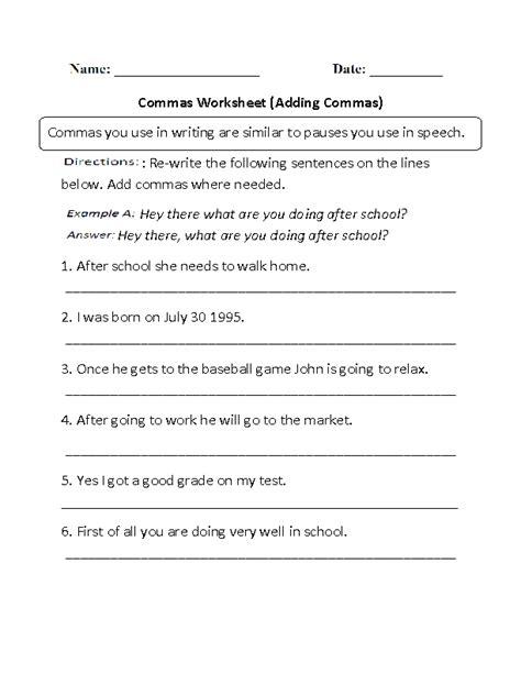 commas worksheets adding commas worksheets part